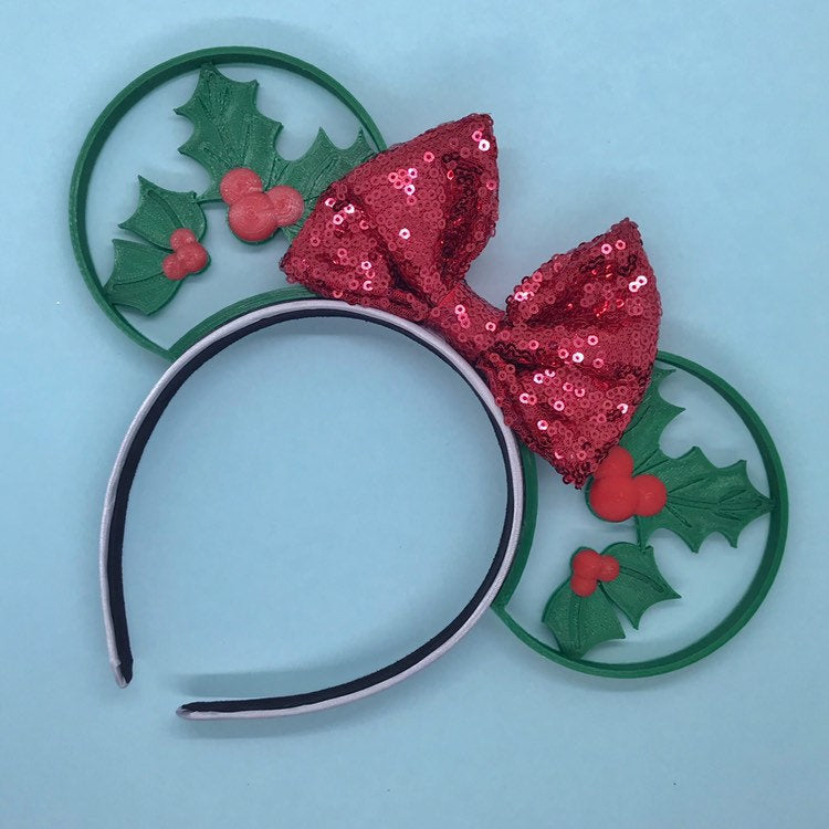 Christmas Mouse Head Holly Leaves 3D Printed Mouse Ears