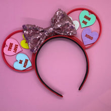 Load image into Gallery viewer, Valentine's Day Sweet Conversation Hearts 3D Printed Mouse Ears