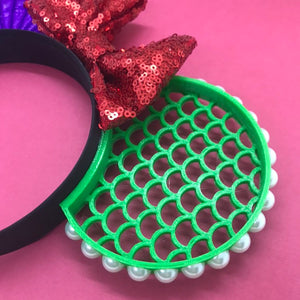 Mermaid Shell and Scales 3D Printed Mouse Ears