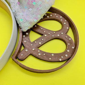 Hand Placed Rhinestone Crystal Pretzel Snack 3D Printed Mouse Ears