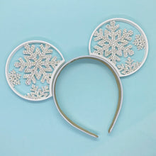 Load image into Gallery viewer, Hand Placed Crystal Rhinestone Snowflake Ice Queen 3D Printed Mouse Ears