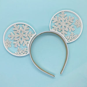 Hand Placed Crystal Rhinestone Snowflake Ice Queen 3D Printed Mouse Ears