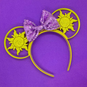 Hand Placed Crystal Rhinestone Tangled Sun 3D Printed Mouse Ears