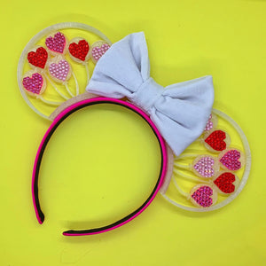 Hand Placed Crystal Rhinestone Valentine's Day Heart Balloons 3D Printed Mouse Ears