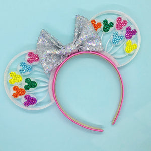 Hand Placed Rhinestone Crystal Rainbow Mouse Balloons 3D Printed Mouse Ears
