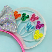 Load image into Gallery viewer, Hand Placed Rhinestone Crystal Rainbow Mouse Balloons 3D Printed Mouse Ears