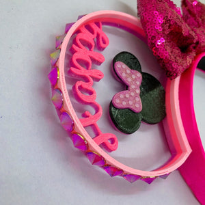 Happy Birthday Mouse Head with Crystal Rhinestones 3D Printed Mouse Ears