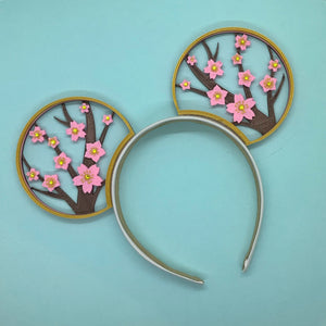 Hand Placed Rhinestone Cherry Blossom Flower 3D Printed Mouse Ears