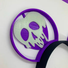 Load image into Gallery viewer, Glow in the Dark Purple Poison Apple Snow White 3D Printed Mouse Ears