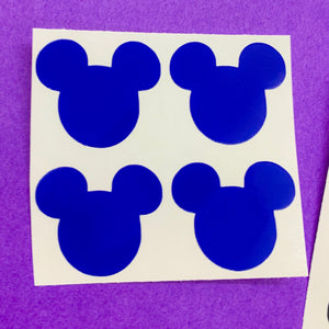 "1"" Mouse Head Vinyl Decals - Pack of 20 - Blues/Green/Purple/Black"
