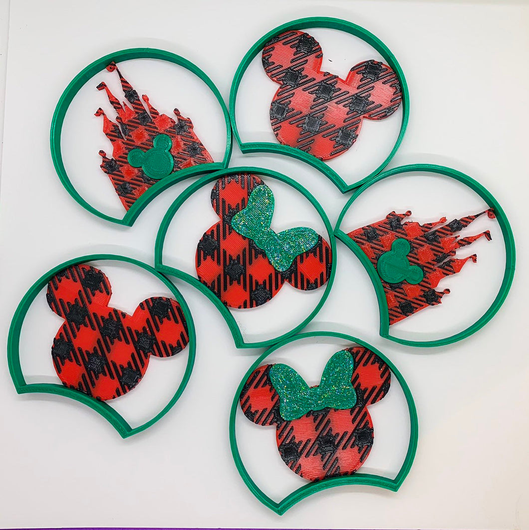 Christmas Buffalo Plaid Choice of Mouse Head or Castle 3D Printed Mouse Ears