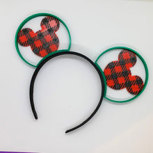 Load image into Gallery viewer, Christmas Buffalo Plaid Choice of Mouse Head or Castle 3D Printed Mouse Ears