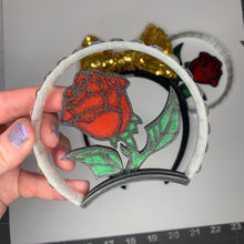 Load image into Gallery viewer, Stained Glass Enchanted Rose Rhinestone 3D Printed Mouse Ears