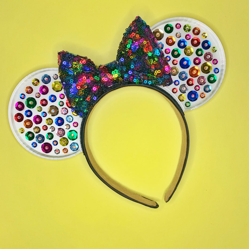 Rainbow Sequin 3D Printed Mouse Ears