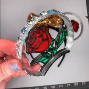 Stained Glass Enchanted Rose Rhinestone 3D Printed Mouse Ears