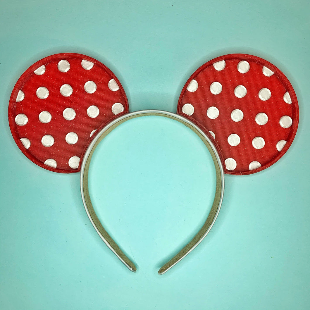 Red and White Glitter Polka Dot 3D Printed Mouse Ears