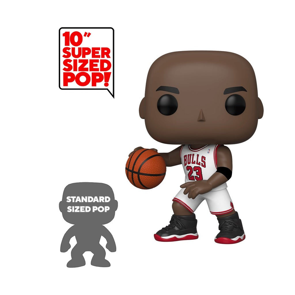 "POP! NBA: Chicago Bulls - Michael Jordan (White Jersey) 10"" Inch [Exclusive] - Sheldonet Toy Store"