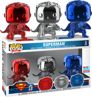 Pop! Movies: DC- Superman (Chrome 3-Pack) [NYCC 2018 Exclusive] - Sheldonet Toy Store