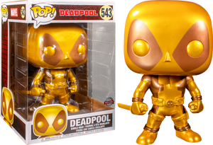 "Pop! Marvel: Deadpool - Deadpool with Swords (Gold) 10"" Inch (Exclusive) - Sheldonet Toy Store"