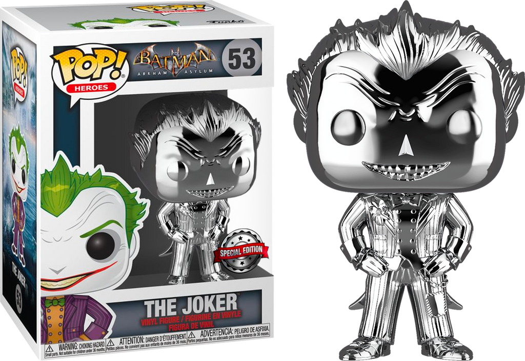 Pop! Heroes: Arkham Asylum - Joker (Silver Chrome) [Exclusive] - Sheldonet Toy Store