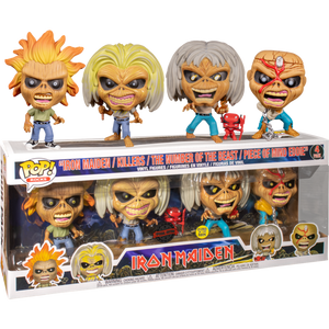 Pop! Rocks: Iron Maiden - Eddie (4-Pack) [Glow In The Dark] [Exclusive] - Sheldonet Toy Store