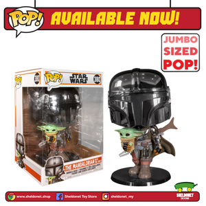 "Pop! Star Wars: The Mandalorian - The Mandalorian Metallic Chrome Armour With The Child 10"" Inch - Sheldonet Toy Store"