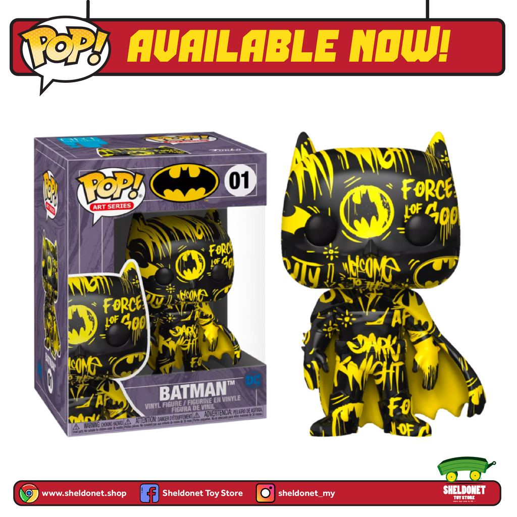 Pop! Heroes (Artist Series): DC Comics - Batman (Black & Yellow)  with Pop! Protector (Exclusive) - Sheldonet Toy Store
