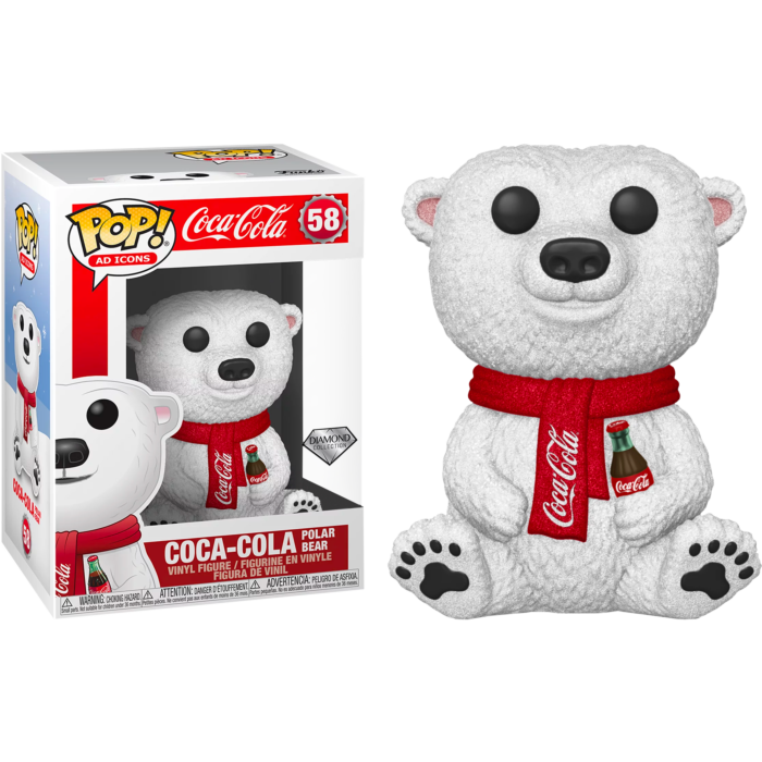 Pop! Ad Icons: Coca Cola - Polar Bear (Diamond Glitter) [Exclusive] - Sheldonet Toy Store