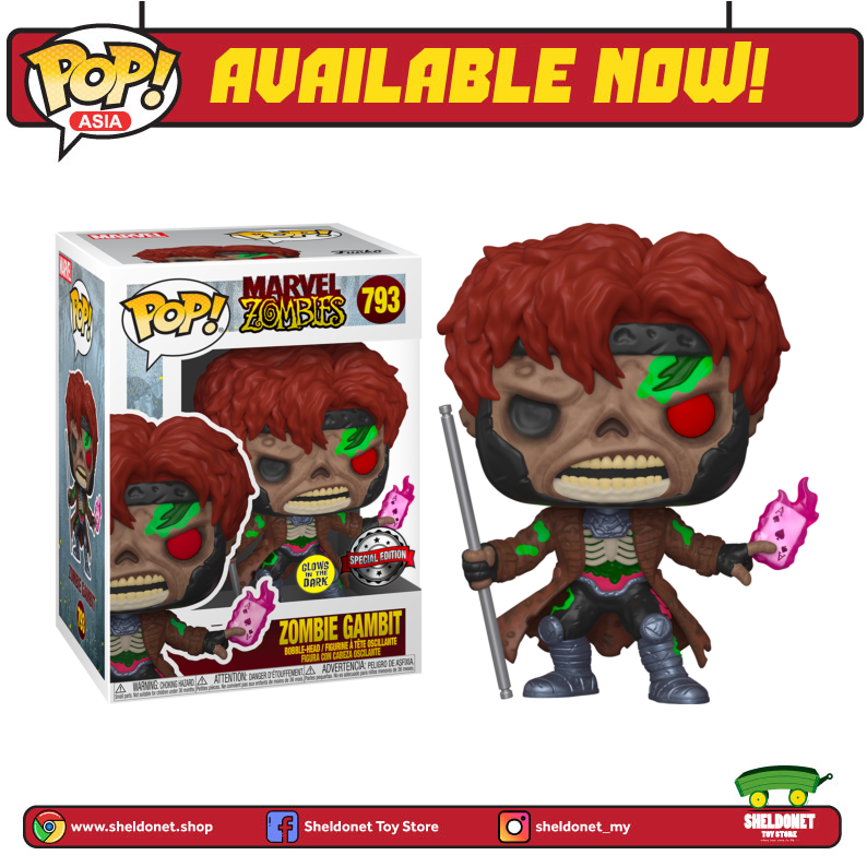 Pop! Marvel: Marvel Zombies- Gambit (Glow In The Dark) [Exclusive] - Sheldonet Toy Store