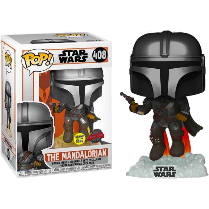 Pop! Star Wars: The Mandalorian - Mandalorian Flying with Blaster (Glow In The Dark) [Exclusive] - Sheldonet Toy Store