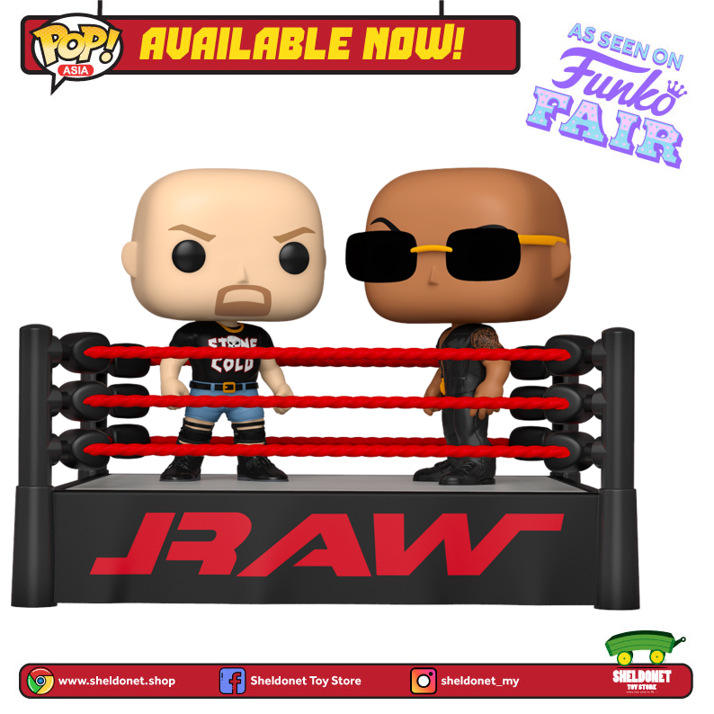 Pop! TV Moments: WWE - The Rock vs Stone Cold in Wrestling Ring - Sheldonet Toy Store