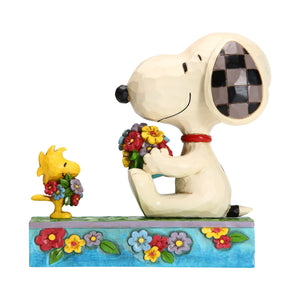 Enesco : Peanuts by Jim Shore - Snoopy-Woodstock with Flowers - Sheldonet Toy Store