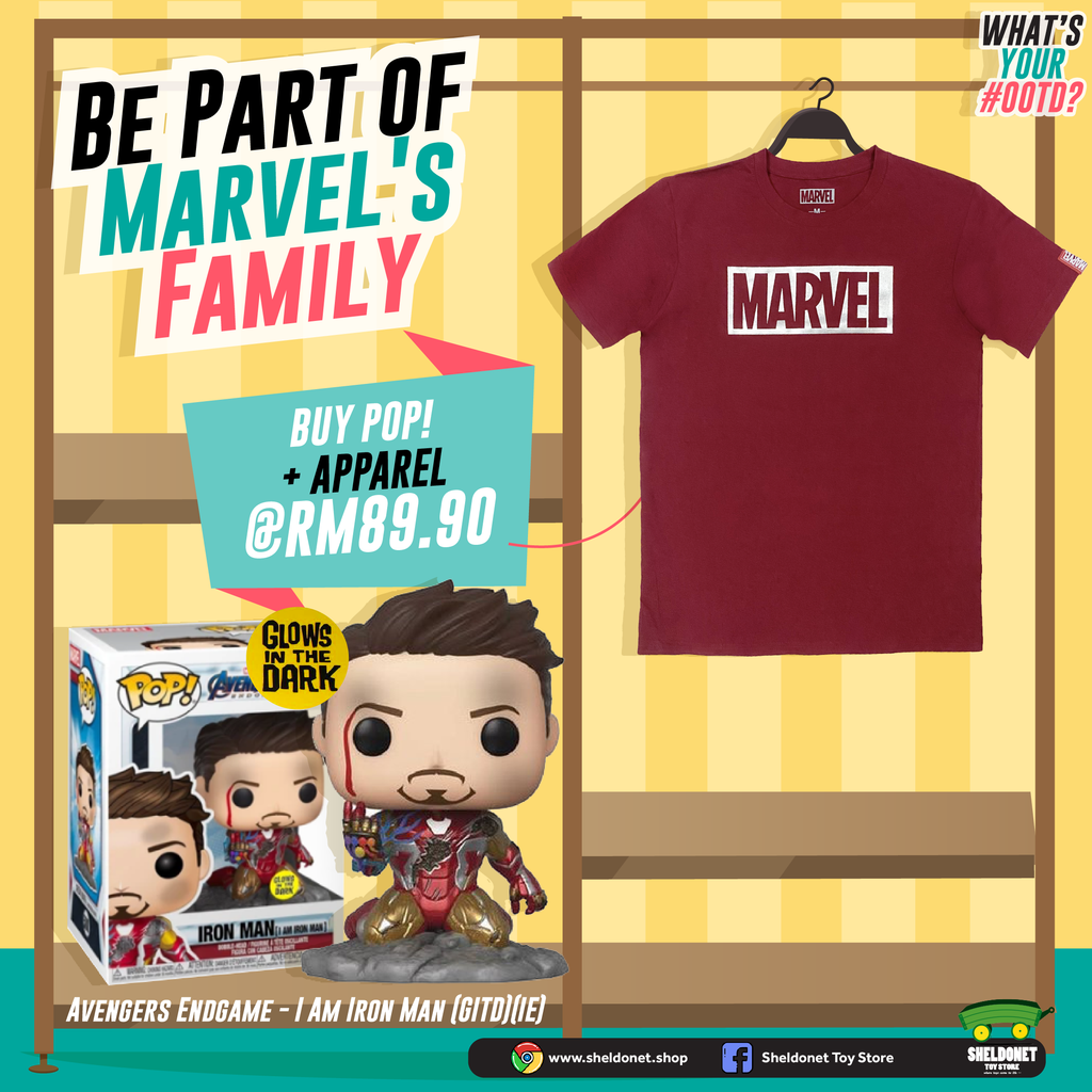 [WE LOVE YOU,TONY STARK T-SHIRT BUNDLE] Pop! Deluxe: Marvel: Avengers: Endgame - I am Iron Man (Glow in the Dark) + T-Shirt Bundle
