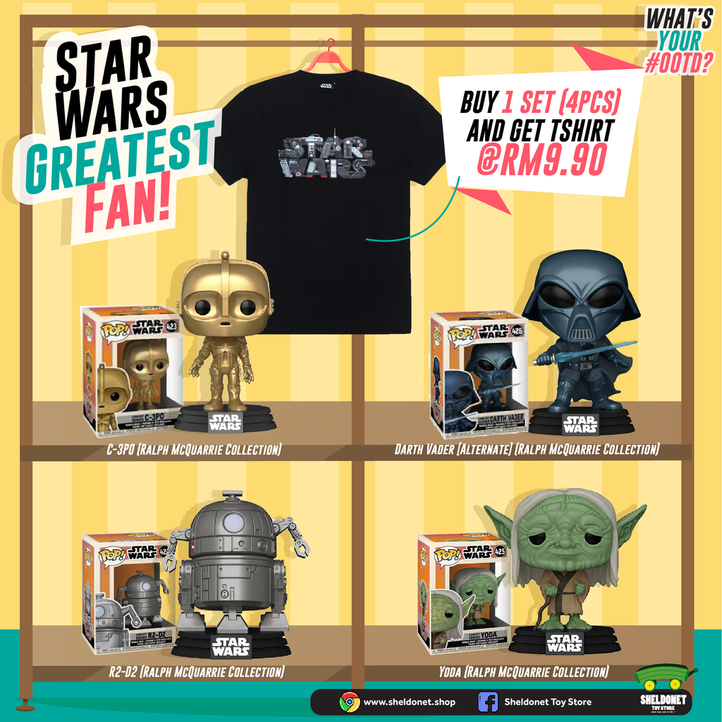 [STAR WARS GREATEST FAN! T-SHIRT BUNDLE] Pop! Star Wars: Concept Series (Set of 4) + Star Wars T-Shirt