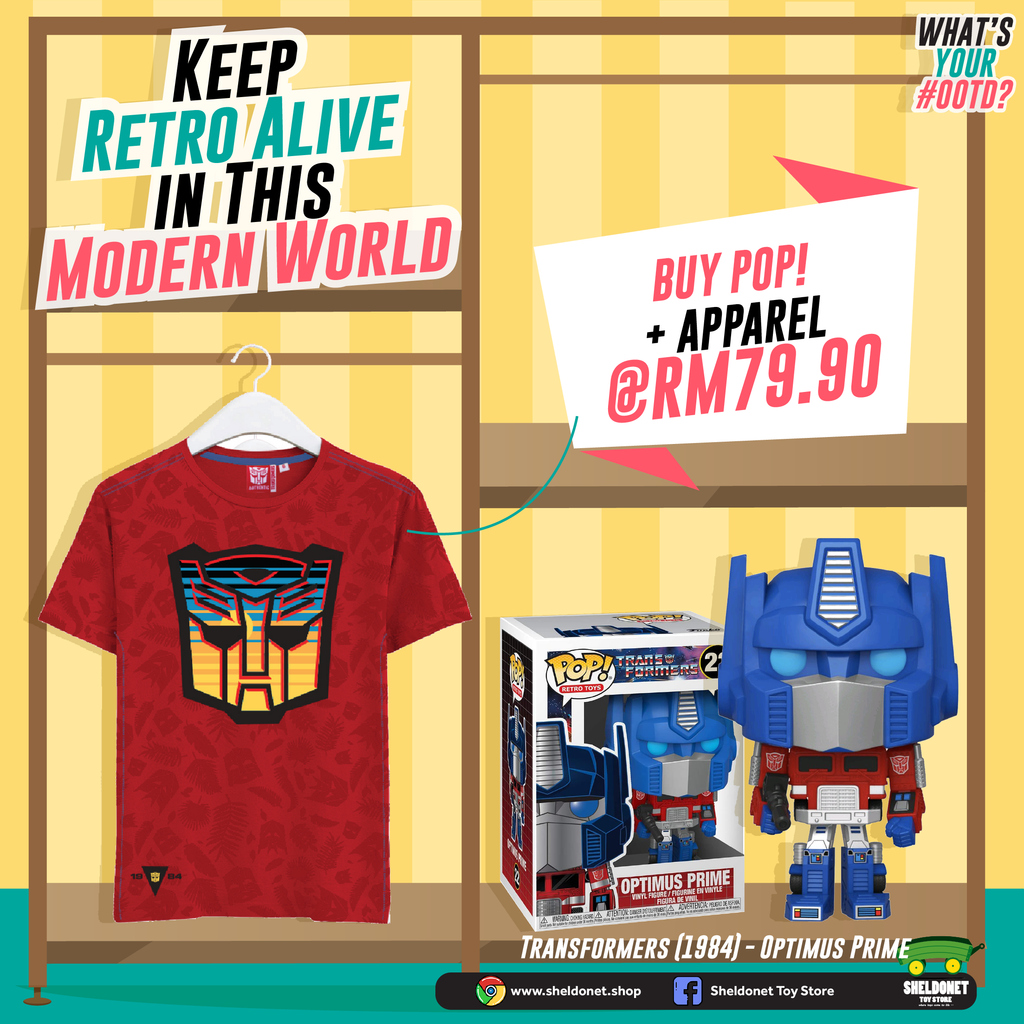 [GO RETRO WITH TRANSFORMERS T-SHIRT BUNDLE] Funko Pop! Retro Toys: Transformers - Optimus Prime + T-Shirt Bundle