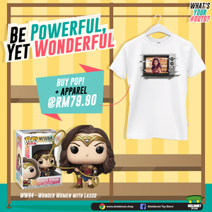 [GOING WONDERS WITH WONDER WOMAN T-SHIRT BUNDLE] Pop! Heroes: Wonder Woman 1984 - Wonder Woman with Lasso (Metallic) + T-Shirt Bundle