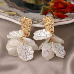 White Acrylic Flower Petal Drop Earrings