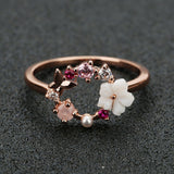 Flowers Crystal  Ring