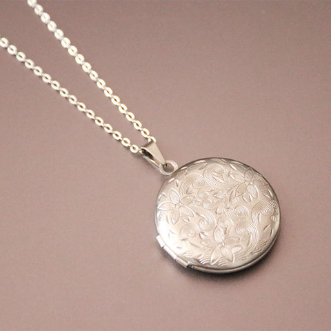 Carved Designs Round Photo Frame Pendant Necklace