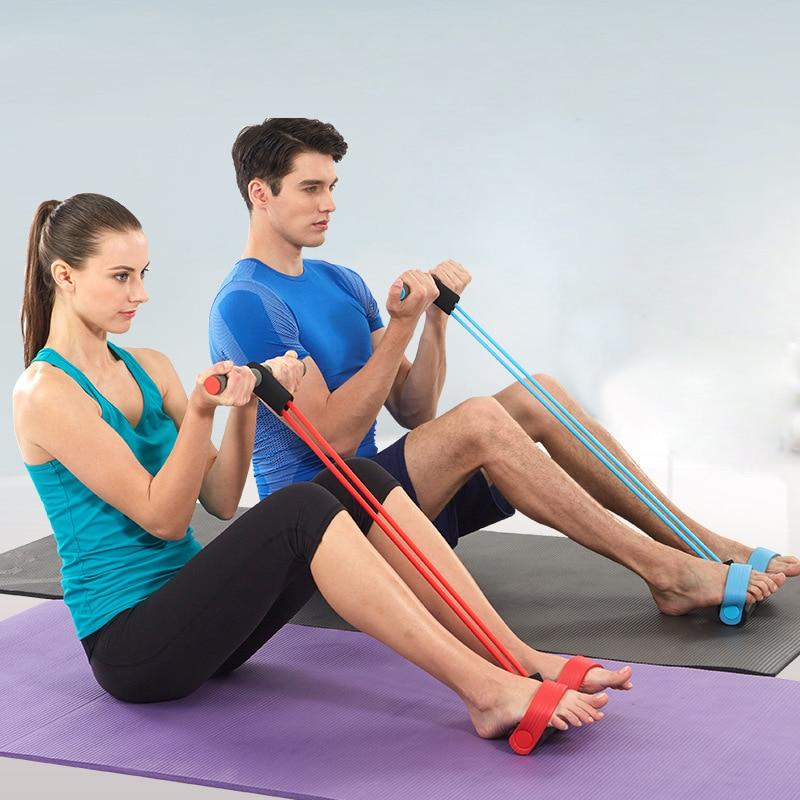 Exercise Fitness 4 Resistance Tubes with foot Pedals - Lady Shape Beauty