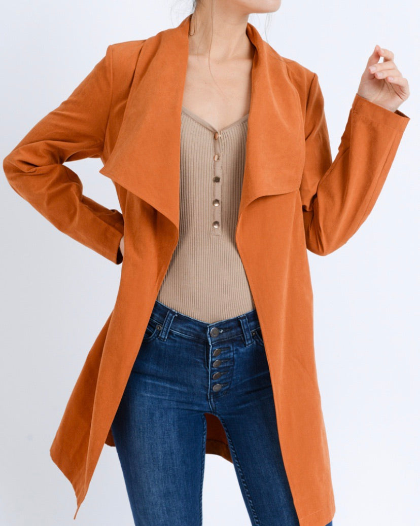Collared Belted Trench Coat Jacket