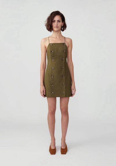 Woman in olive button down mini dress front.