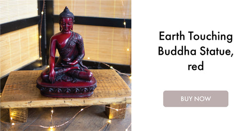 Earth Touching Buddha Statue Red I DharmaCrafts