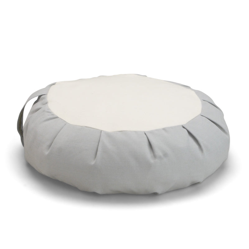 Dharma Cloud Buckwheat Hull Zafu, gray and white