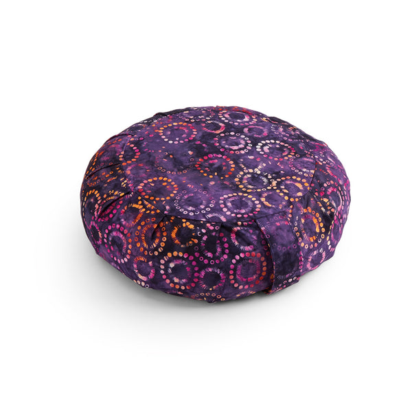 Purple Haze Batik Buckwheat Hull Zafu, print