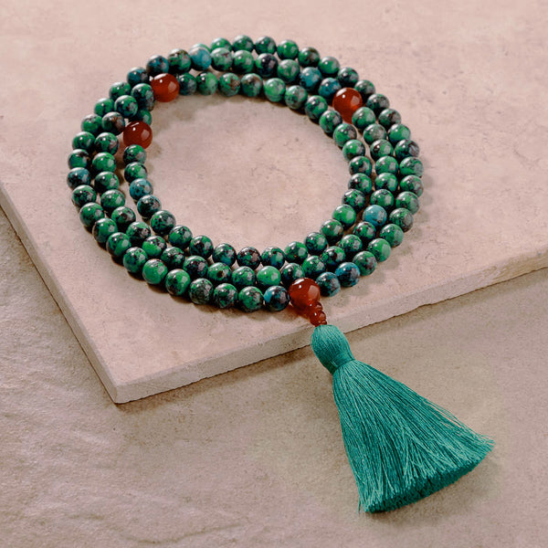 Turquoise with Carnelian Mala, 108 Beads