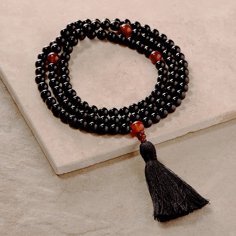 Black Onyx and Carnelian Malas, Mala, 8 mm, 108 beads