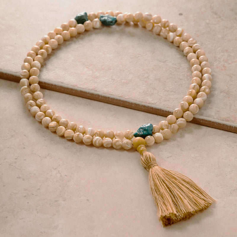 Mother of Pearl with turquoise Mala, 108 Beads