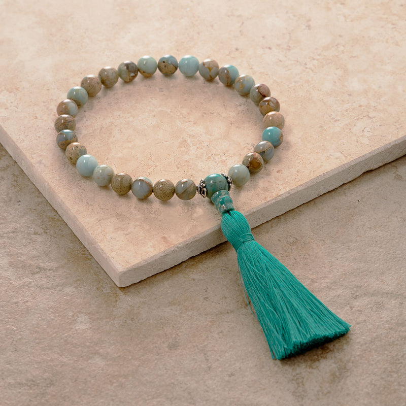 African Opal and Turquoise Hand Mala, 27 Beads