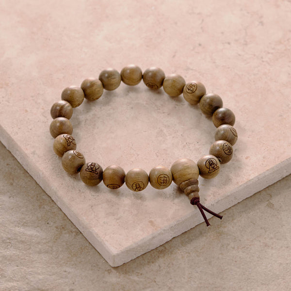 Green Sandalwood Kuan Yin Mala, stretchy